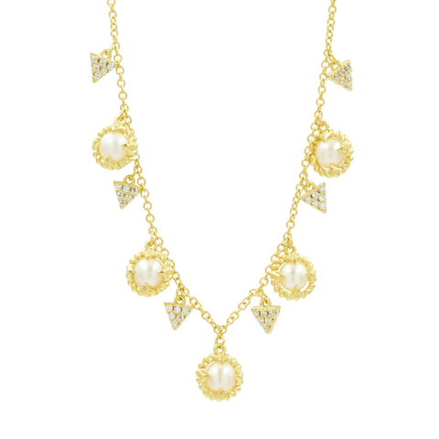 "Pearl Drop 16"" Short Necklace in 14K"