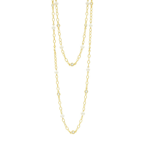 "Pearl 40"" Layer Necklace in 14K"