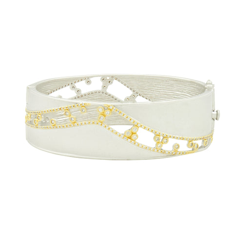 Fleur Bloom Open Work Hinge Bangle