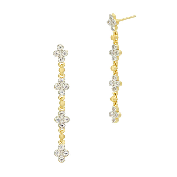 Visionary Fusion Linear Drop Clover Earrings - FREIDA ROTHMAN