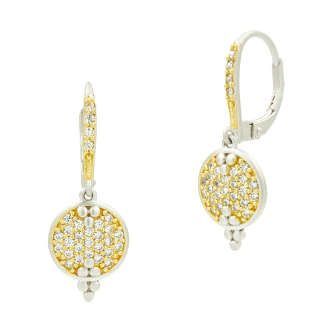 Fleur Bloom Pavé Disc Lever Back Earrings