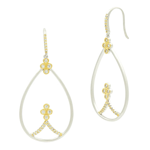 Fleur Bloom Open Teardrop Earrings