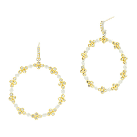 Fleur Bloom Embellished Clover Open Hoop Earrings