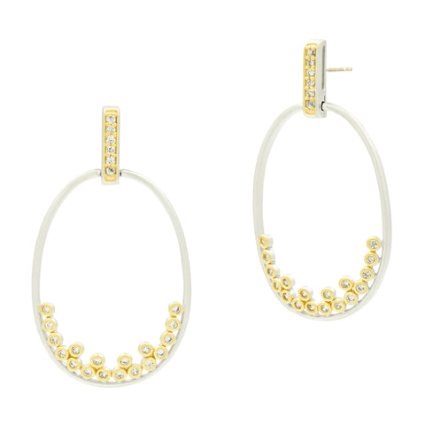 Fleur Bloom Open Oval Hoop Earrings