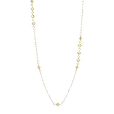 "Fleur Bloom 36"" Asymmetrical Station Necklace"