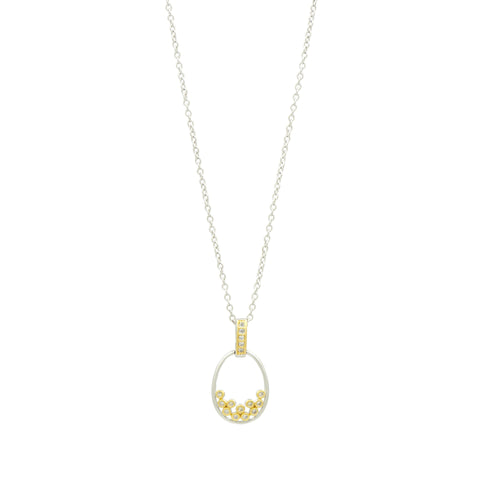 Fleur Bloom Oval Pendant Necklace