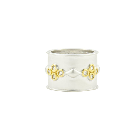 Fleur Bloom Clover Wide Band Ring