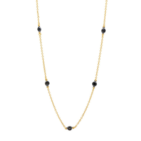Black Stone Diamond by the Yard Necklace