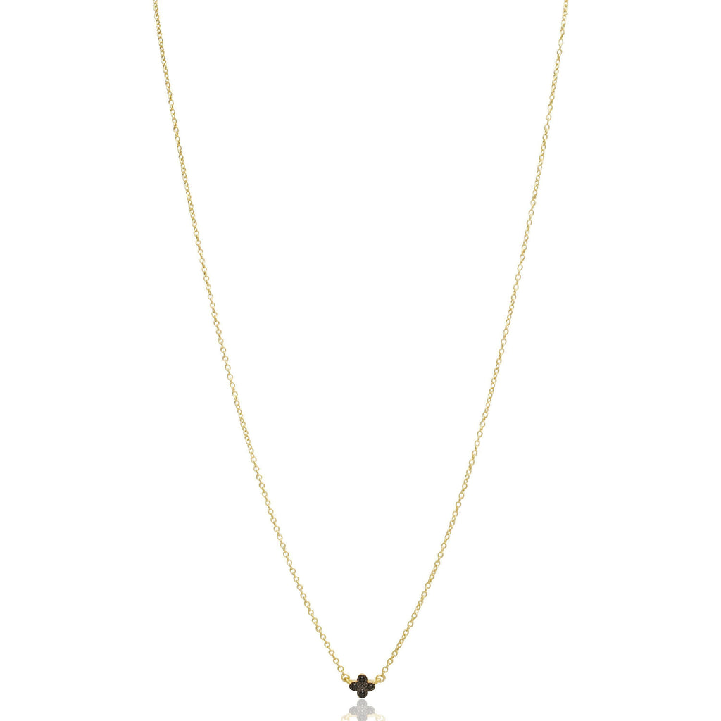 Black Pave Mini Clover Necklace