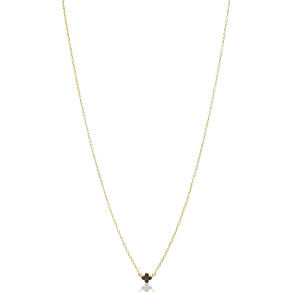 Black Pave Mini Clover Necklace - FREIDA ROTHMAN