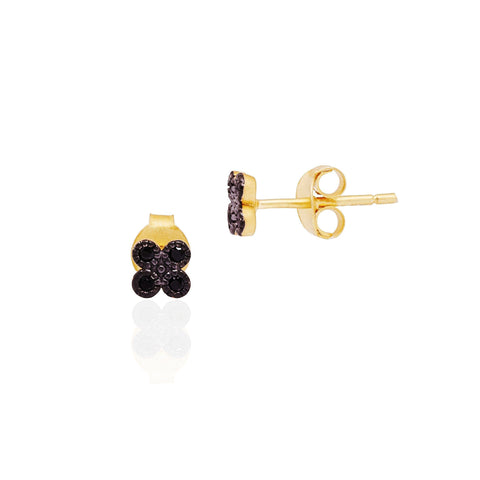 Black Stone Tiny Clover Studs Earrings - FREIDA ROTHMAN