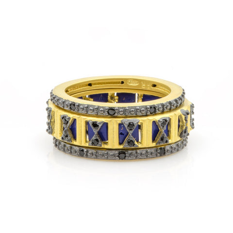 Criss Cross Lapis 3-Stack Ring