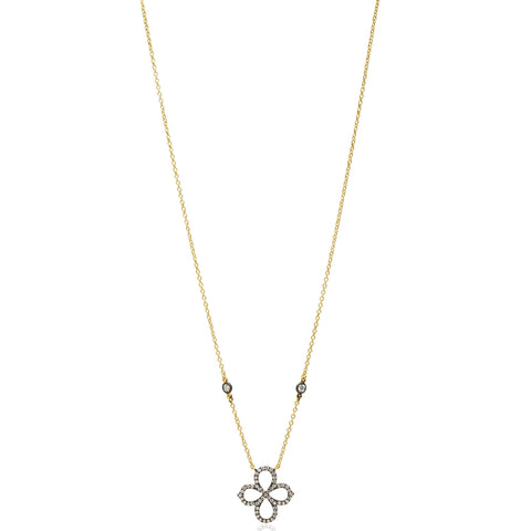 Open Clover Pavé Necklace - FREIDA ROTHMAN