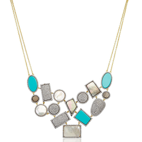 Pav̩ Geometric Mixed Stone Statement Bib Necklace