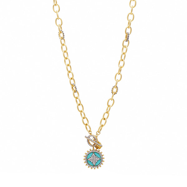 Turquoise Wheel Cage Pendant On Pavé Link Chain Necklace