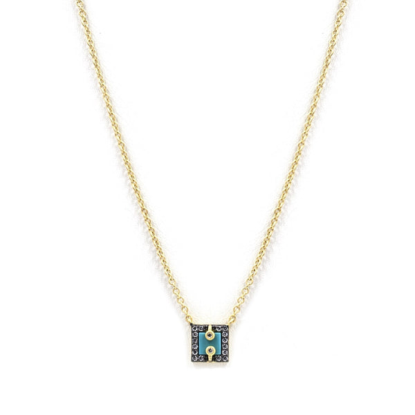 Small Square Turquoise Slice Necklace