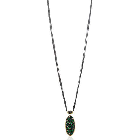 Long Mixed Geo Green Agate Pavé Oval Pendant Necklace