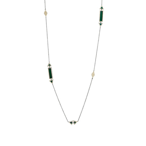 Geo Bar Green Agate Long Wrap Necklace