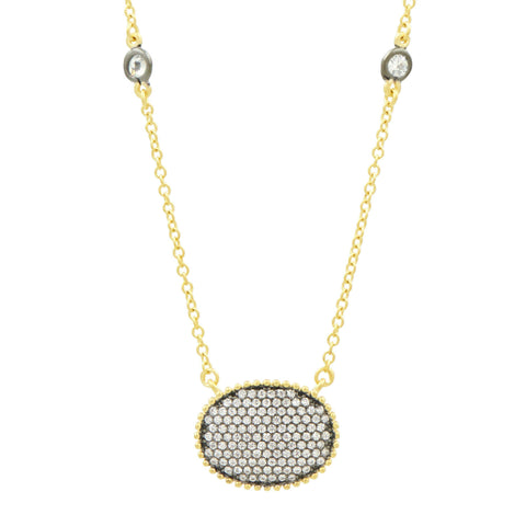 Signature Pavé Oval Disc Pendant