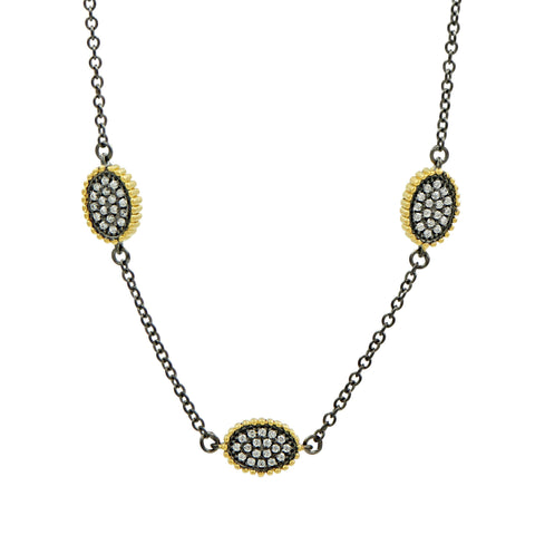 Signature Pavé Oval Station Necklace - FREIDA ROTHMAN