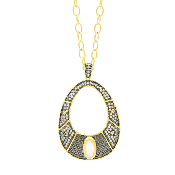 "Textured Pavé 27"" Open Pendant Necklace"