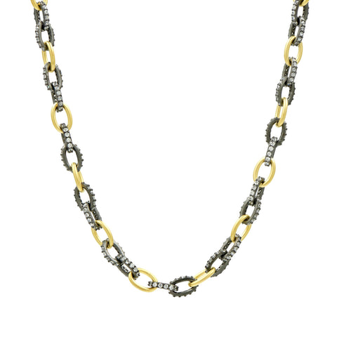 Industrial Finish Alternating Chain Link Necklace