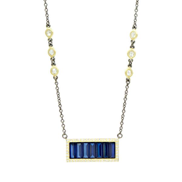 Midnight Baguette Bar Pendant Necklace