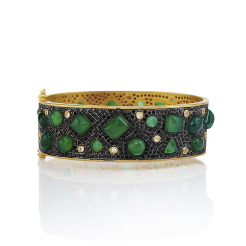 Black Pavé Scattered Green Agate Wide Hinge Bracelet