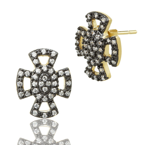 Open Pavé Maltese Stud Earrings - FREIDA ROTHMAN