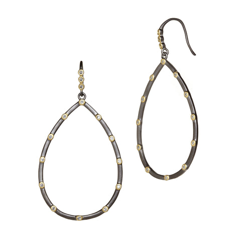 Signature Bezel Teardrop Earrings - FREIDA ROTHMAN