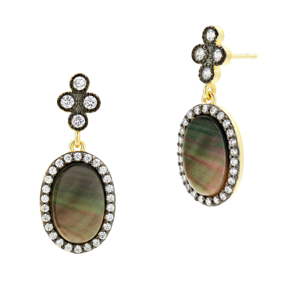 Pave Oval Drop Earrings