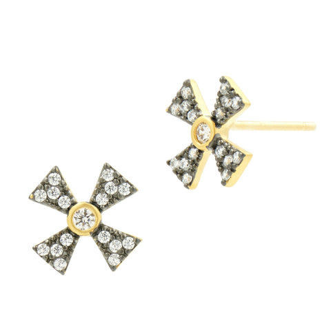 Thin Pav̩ Cross Stud Earrings - FREIDA ROTHMAN
