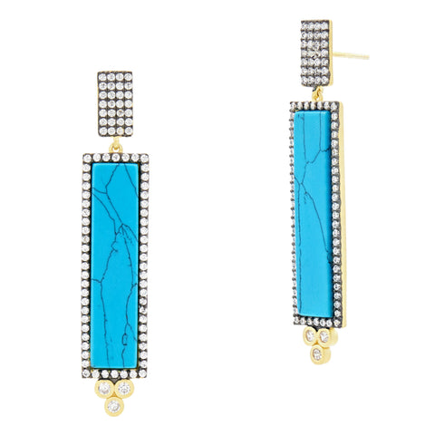 Pavé Bar Drop Earrings