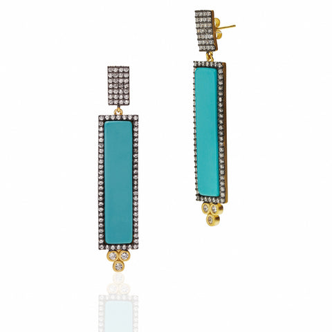 Color Theory Pavé Bar Drop Earrings