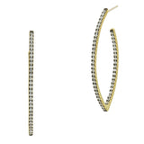 Allover Pointed Oval Pavé  Hoop Earring