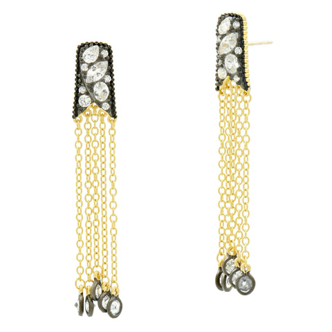 Rosecut Stone Tassel Earrings - FREIDA ROTHMAN