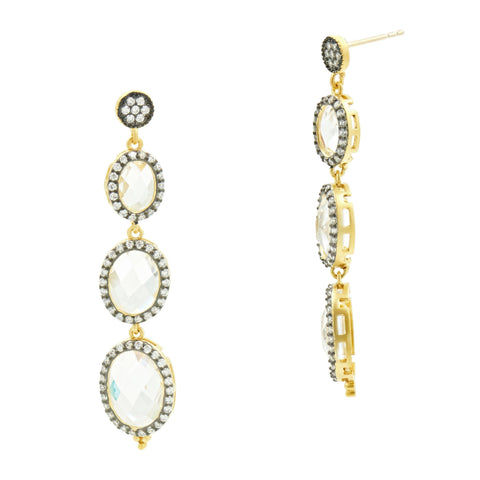 Oval Halo Drop Earrings - FREIDA ROTHMAN