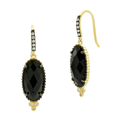 Oval Fishhook Earrings in Black and Gold