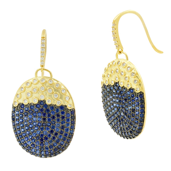 Midnight Oval Pavé Hook Earring