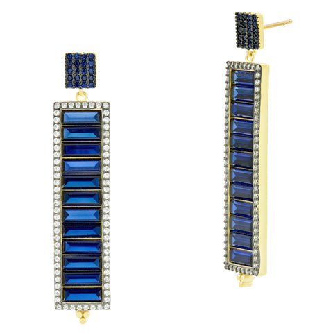 Midnight Baguette Linear Earring
