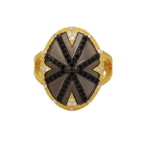 Black Stripe Cocktail Ring - FREIDA ROTHMAN