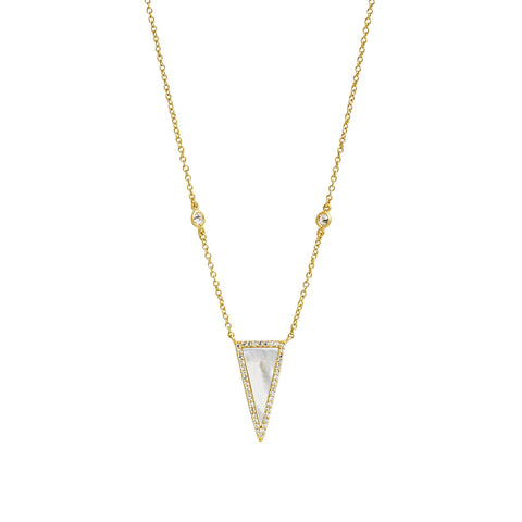 Pavé Mother of Pearl Slice Pendant Necklace