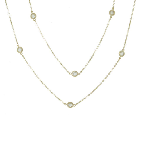 Bezel Set Station Necklace