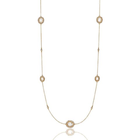 Clear Stone Station Necklace