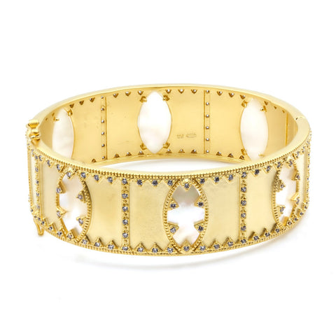 Textured Pearl Statement Bangle