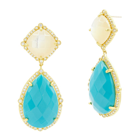 Double Drop Gem Earrings