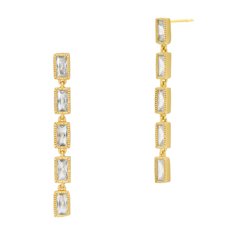 Baguette Linear Drop Earrings