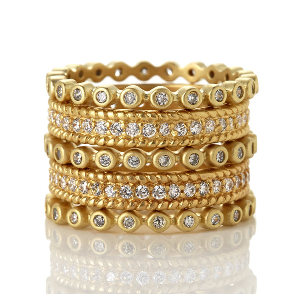 Single Tone Pav̩ 5-Stack Ring - FREIDA ROTHMAN