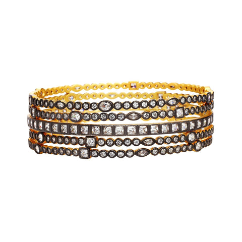 Alternating Stone Radiance Bangle Stack - FREIDA ROTHMAN