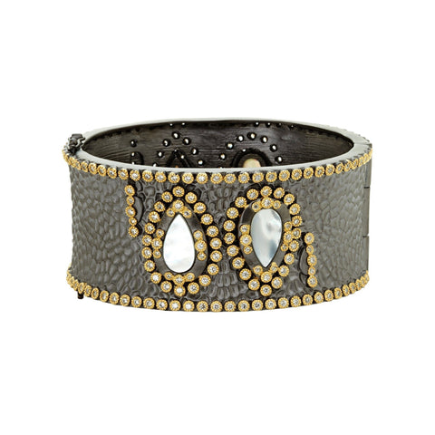 Teardrop Mother of Pearl Wide Hinge Bangle - FREIDA ROTHMAN